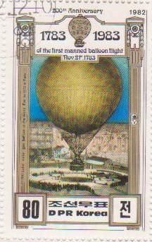 "Марка поштова гашена. ""2500 cubic meter gas balloon at World Fair in 1878 in Paris. 200th Anniversary of The First Manned Balloon Flight. Nov 21 st. 1783. DPR Korea"""