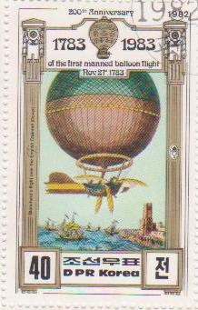 "Марка поштова гашена. ""Blanchard᾽s flight over the English Channel (Dover). 200th Anniversary of The First Manned Balloon Flight. Nov 21 st. 1783. DPR Korea"""