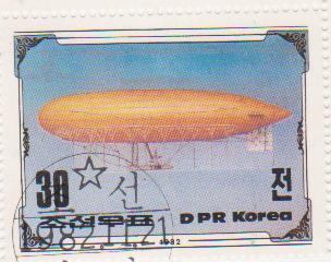 "Марка поштова гашена. ""Parseval PL VII/1912. 200th Anniversary of The First Manned Balloon Flight. Nov 21 st. 1783. DPR Korea"""