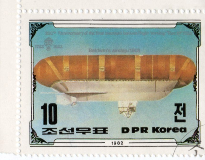 "Марка поштова гашена. ""Baldwin's airship / 1908. 200th Anniversary of The First Manned Balloon Flight. Nov 21 st. 1783. DPR Korea"""