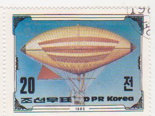 "Марка поштова гашена. ""Tissandier Brothers' airship / 1883. 200th Anniversary of The First Manned Balloon Flight. Nov 21 st. 1783. DPR Korea"""