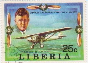 "Марка поштова гашена. ""Charles Lindbergh ""Spirit of St. Louis"". Progress of Aviation. Liberia"""