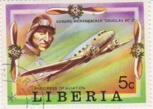 "Марка поштова гашена. ""Edward Rickenbacker ""Douglas DC-3"". Progress of Aviation. Liberia"""