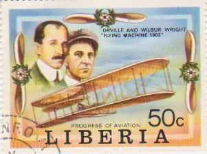 "Марка поштова гашена. ""Orville and Wilbur Wright ""Flying Machine 1903"". Progress of Aviation. Liberia"""