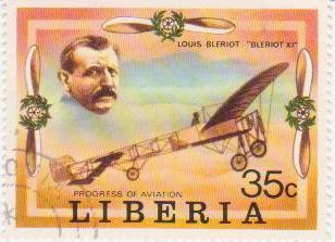 """Марка поштова гашена. """"Louis Bleriot """"Bleriot XI"""". Progress of Aviation. Liberia"""""""