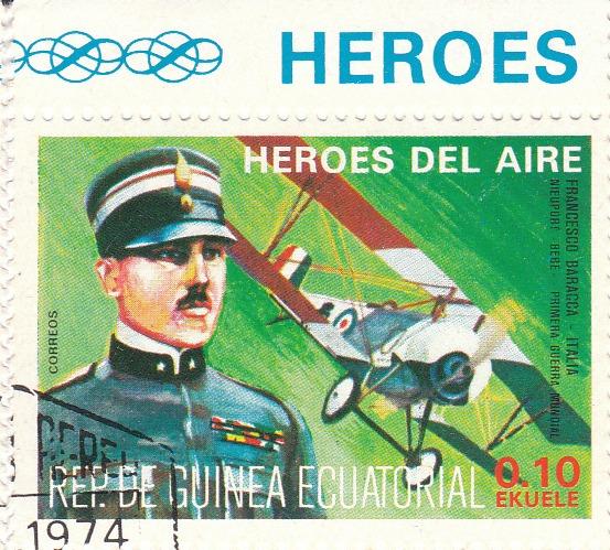 "Марка поштова гашена. ""Francesco Baraсca - Italia. Nieuport - Bebe. Primera Guerra Mundial. Heroes del Aire"". República de Guinea Ecuatorial"""
