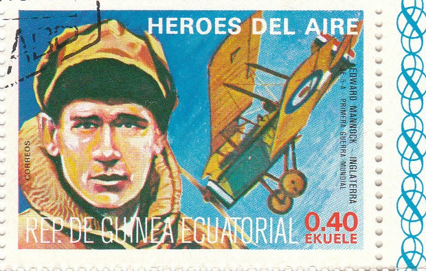 "Марка поштова гашена. ""Edward Mannock - Inglaterra. S.E.- 5 - A. Primera Guerra Mundial. Heroes del Aire. República de Guinea Ecuatorial"""