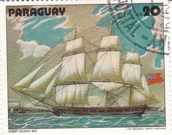 "Марка поштова гашена. ""Robert Salmon. 1803. Lito Nacional Porto – Portugal. Paraguay"". 1979"