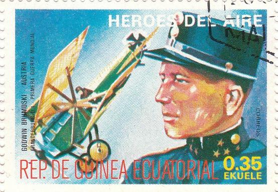 "Марка поштова гашена. ""Godwin Brumoski - Austria. Brandebburg D 1. Primera Guerra Mundial. Heroes del Aire. República de Guinea Ecuatorial"""