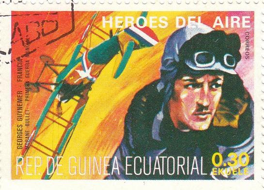 "Марка поштова гашена. ""Georges Guynemer - Francia. Morane Bullet. Primera Guerra Mundial. Heroes del Aire. República de Guinea Ecuatorial"""