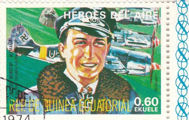 "Марка поштова гашена. "" Walter Nowotny - Alemania. ME 109. Segunda Guerra Mundial. Heroes del Aire. República de Guinea Ecuatorial"""