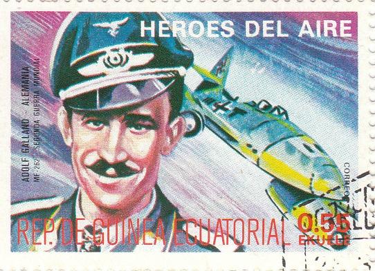 "Марка поштова гашена. ""Adolf Galland - Alemania. ME 262. Segunda Guerra Mundial. Heroes del Aire. República de Guinea Ecuatorial"""