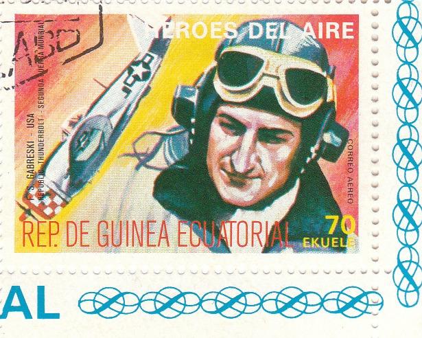 "Марка поштова гашена. ""F. S. Gabreski - USA. Republ 40 Thunderbolt. Segunda Guerra Mundial. Heroes del Aire. República de Guinea Ecuatorial"""
