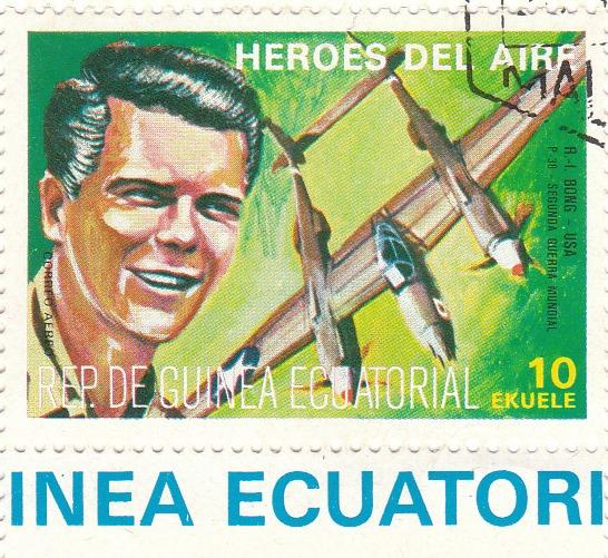 """Марка поштова гашена. """"R. I. Bong - USA. P-38. Segunda Guerra Mundial. Heroes del Aire. República de Guinea Ecuatorial"""""""