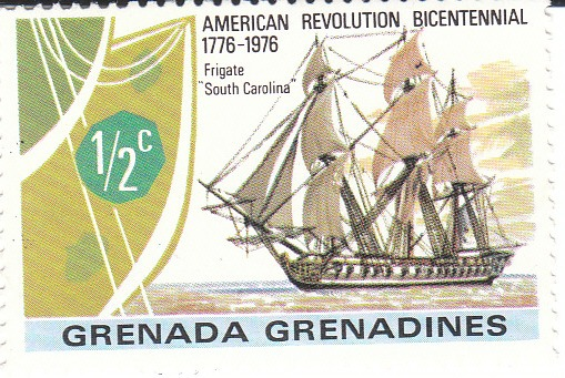 "Марка поштова негашена. ""Frigate ""South Carolina"". Grenada Grenadines. 1976"