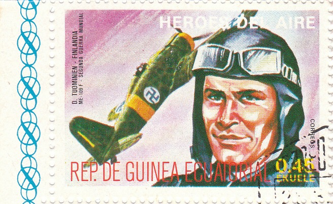 "Марка поштова гашена. ""D. Tuominien - Finlandia. Me-109 F. Segunda Guerra Mundial. Heroes del Aire. República de Guinea Ecuatorial"""