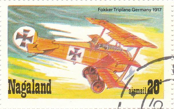 """Марка поштова гашена. """"Fokker Triplane. Germany. 1917.  Nagaland"""""""