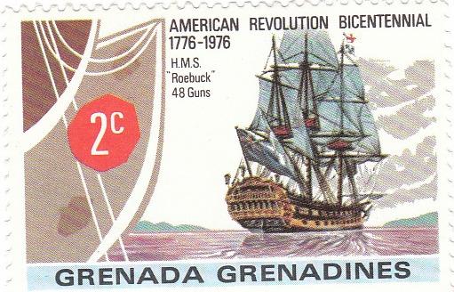 "Марка поштова негашена. ""H.M.S. Roebuck"" 48 Guns"". Grenada Grenadines. 1976"