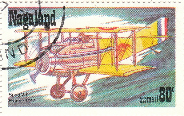 "Марка поштова гашена. ""SPAD VII. France. 1917"""
