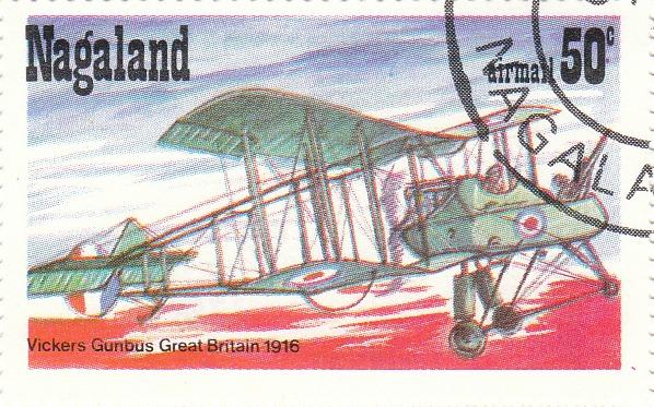 "Марка поштова гашена. ""Vickers Gunbus. Great Britain. 1916. Nagaland"""
