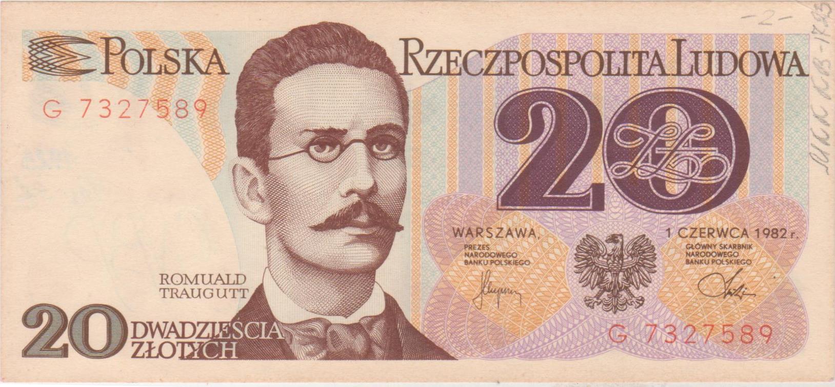 """Грошовий знак. """"20 złotych. Polska Rzeczpospolita Ludowa"""""""