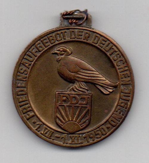 """Медаль """"Friedensaufgebot der Deutschen Jugend. 1.VII-1.XI. 1950"""""""