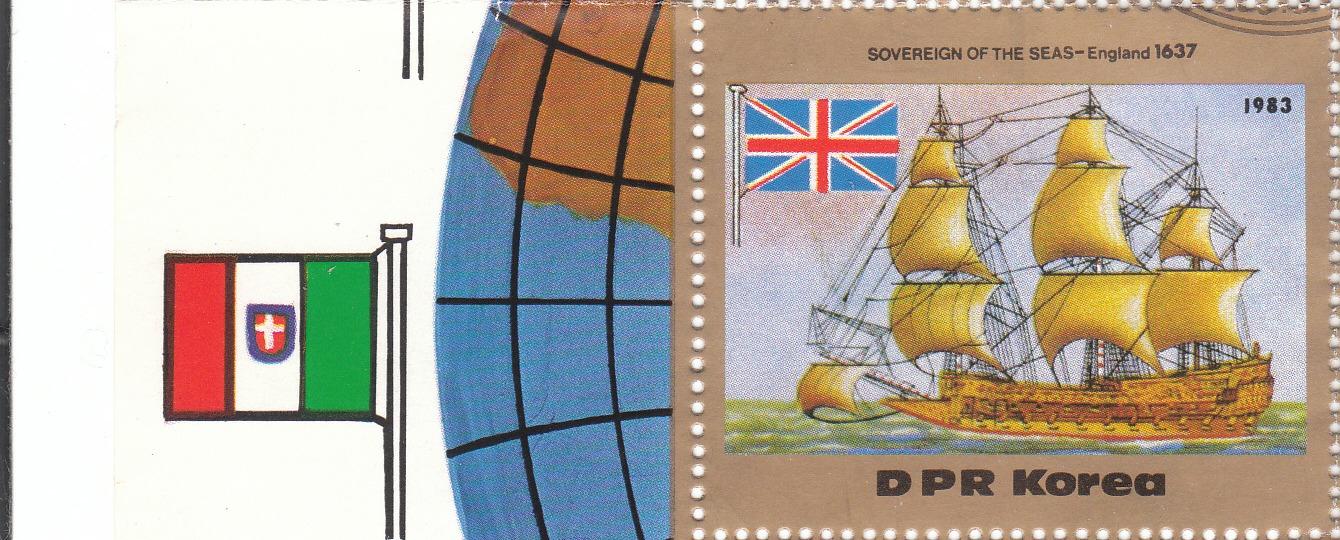 """Марка поштова гашена. Частина блоку. """"Sovereign of the seas - Englad 1637"""". DPR Korea. 1983"""