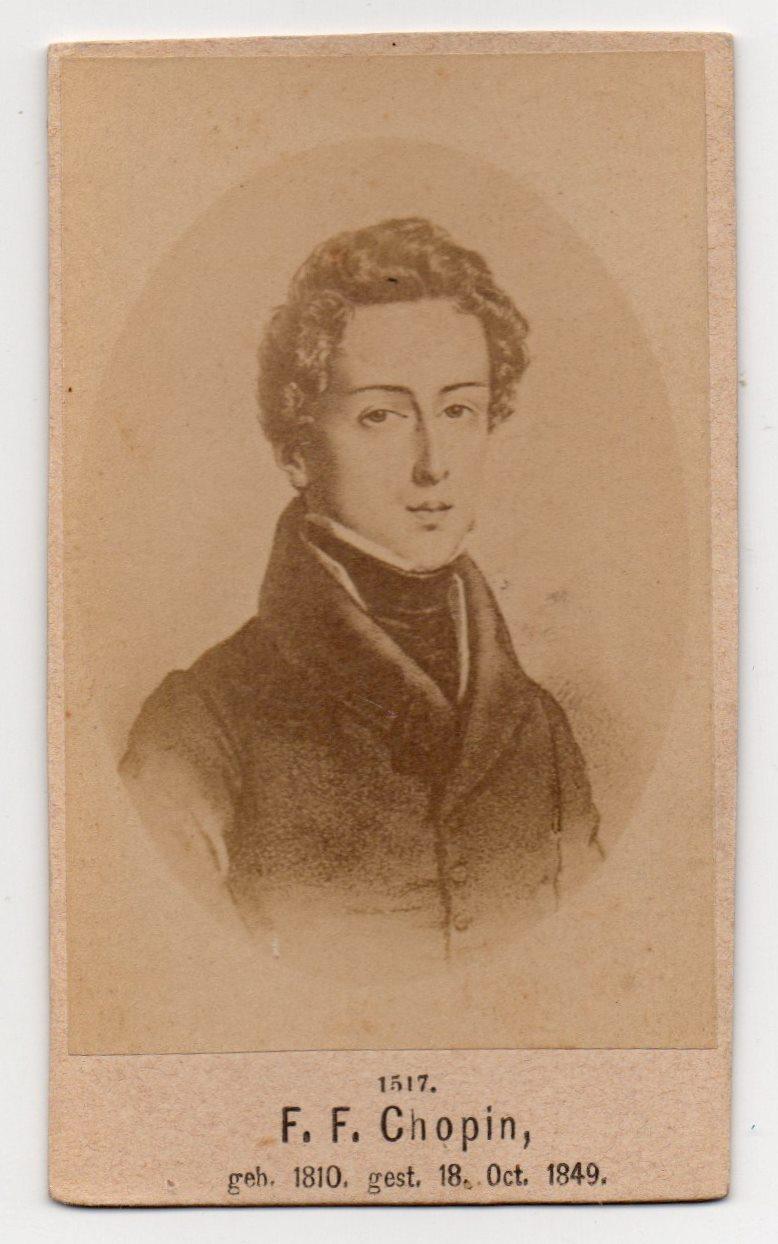 """Поштова листівка. """"F. F. Chopin, geb. 1810. gest. 18. Oct. 1849"""""""