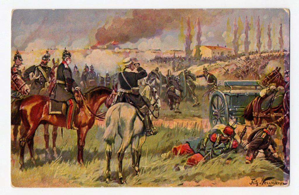 """Поштова листівка. """"Fritz Neumann. König Wilhelm I. in der Schlacht bei Gravelotte, 18. August 1870"""""""