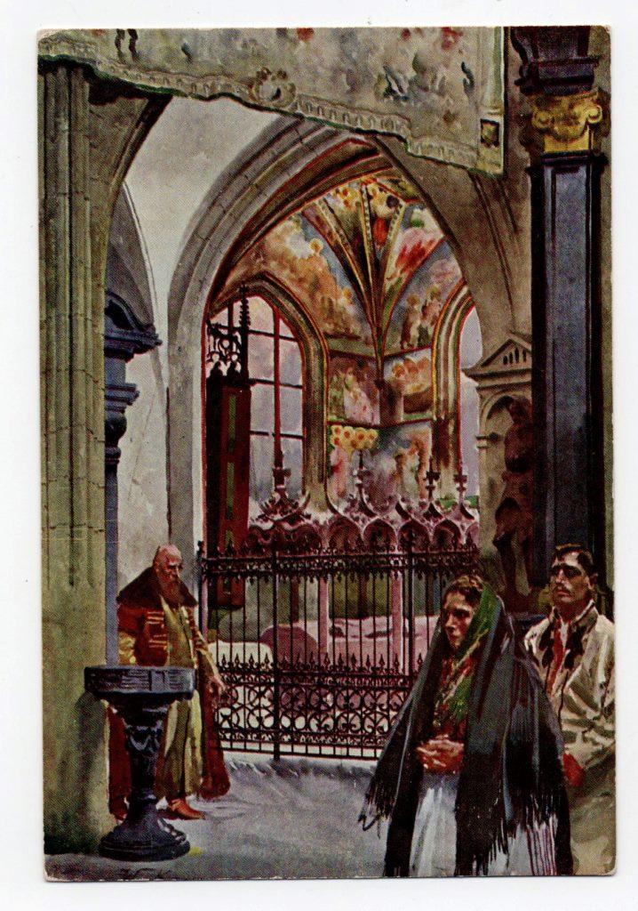 """Поштова листівка. """"Mal. St. Tondos i W. Kossak. Kaplica św. Krzyża wraz z sarkofagiem Kazimierza Jagiellończyka dłuta Wita Stwosza"""""""
