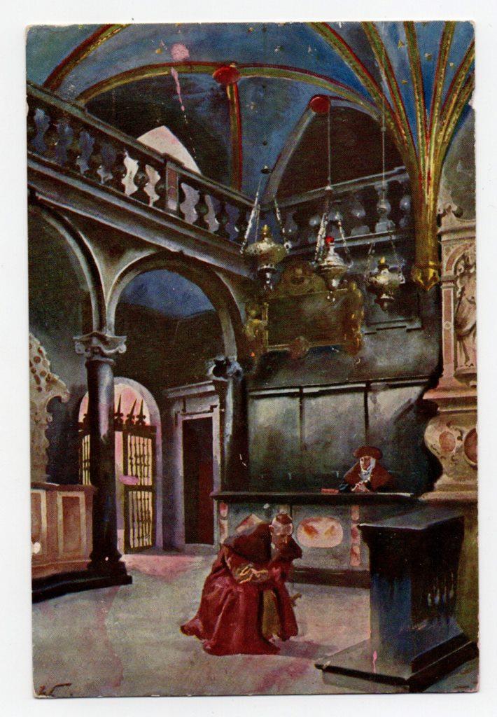 """Поштова листівка. """"Mal. St. Tondos i W. Kossak. Kaplica Batorego. W stallach siedząca Anna Jagiellonka"""""""