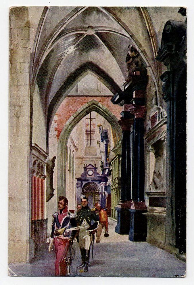 """Поштова листівка. """"Mal. St. Tondos i W. Kossak. Ks. Józef Poniatowski w katedrze po odebraniu Krakowa Austryakom"""""""