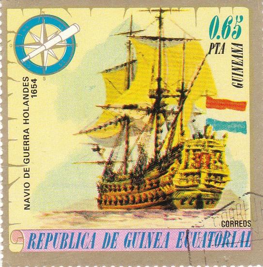 """Марка поштова гашена. """"Navio de Guerra Holandes 1654"""". Republika de Guinea Ecuatorial"""