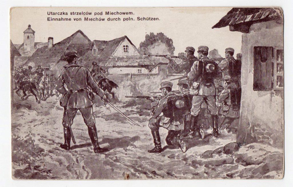 "Поштова листівка. ""Utarczka strzelców pod Miechowem"""