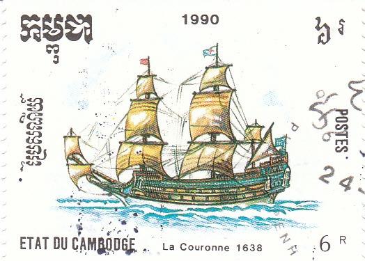 "Марка поштова гашена. ""La Couronne 1638"". Etat du Cambodge. 1990"