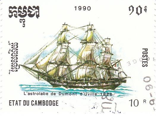 "Марка поштова гашена. ""L᾽astrolabe de Dumont d᾽Uville 1826"". Etat du Cambodge. 1990"
