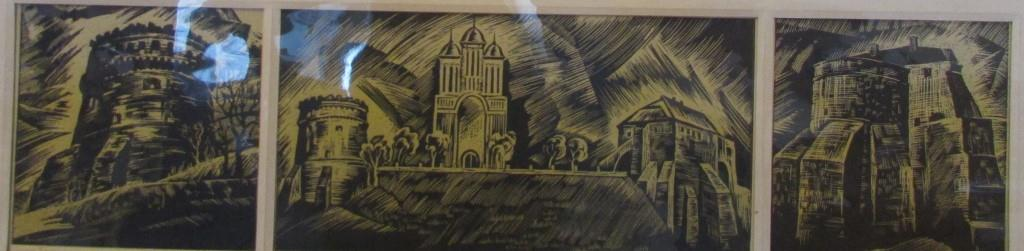 """Мистецтво. Ліногравюра кольорова. """"Домніч А.Т. """"Замок в Острозі ХІV - XVI ст."""""""