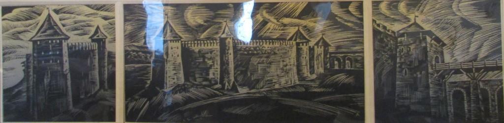 """Мистецтво. Ліногравюра кольорова. """"Домніч А.Т. """"Замок в Хотині ХІІІ - XVI ст."""""""