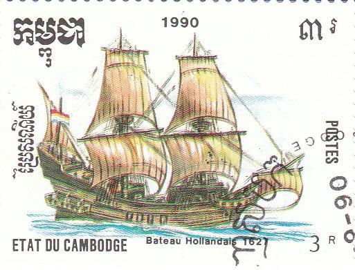 "Марка поштова гашена. ""Bateau Hollandais 1627"". Etat du Cambodge. 1990"