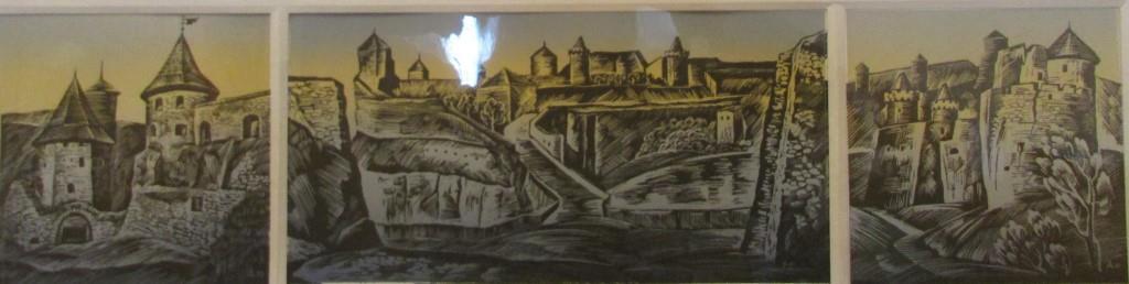 """Мистецтво. Ліногравюра кольорова. """"Домніч А.Т. """"м. Кам'янець-Подільський. Фортеця ХVІІ - XVIІІ ст. Польські ворота"""""""