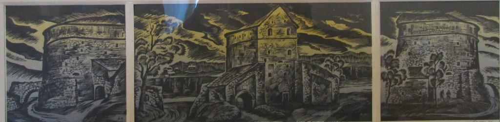 """Мистецтво. Ліногравюра кольорова. """"Кам'янець-Подільський. Кушнірська башта. XVI ст."""""""