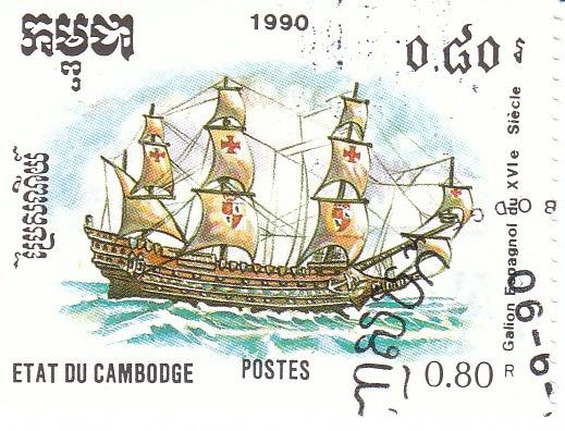 "Марка поштова гашена. ""Galion Espagnol du XVI e Siecle"". Etat du Cambodge. 1990"