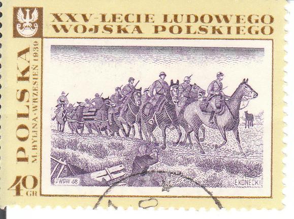 """Марка поштова гашена """"M. Bylina """"Wrzesień 1939"""". XXV-lecie Ludowego wojska polskiego"""""""