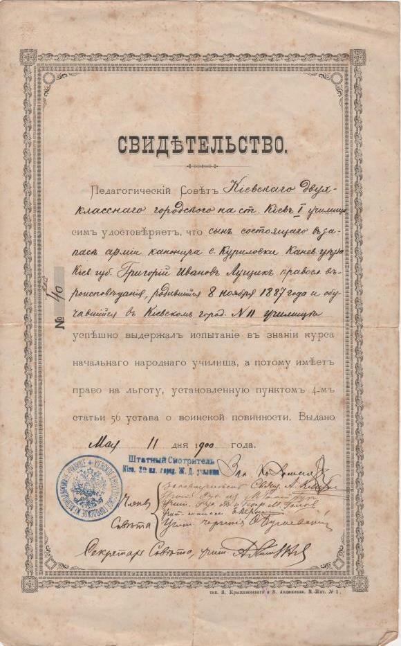 """Документ. """"Свідоцтво №40. Видано 11 травня 1900 року"""""""