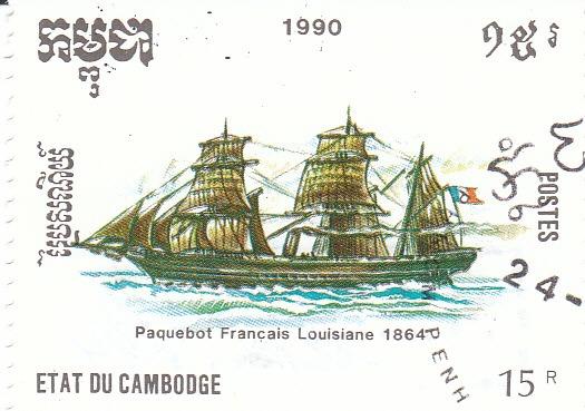 "Марка поштова гашена. ""Paquebot Francais Louisiane 1864"". Etat du Cambodge. 1990"