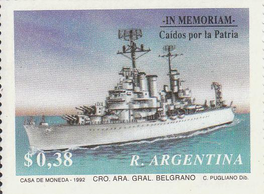 "Марка поштова гашена. ""Cro. Ara. Gral. Belgrano"".  In memoriam Caídos por la Patria. R. Argentina"". 1992"