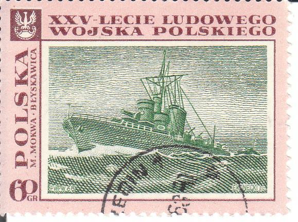 """Марка поштова гашена. """"M. Mokwa """"Błyskawica"""". XXV-lecie Ludowego Wojska Polskiego. Polska"""""""