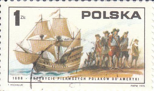 """Марка поштова гашена. """"1608 – Przybycie pierwszych polakow do Ameryki. Polska"""""""