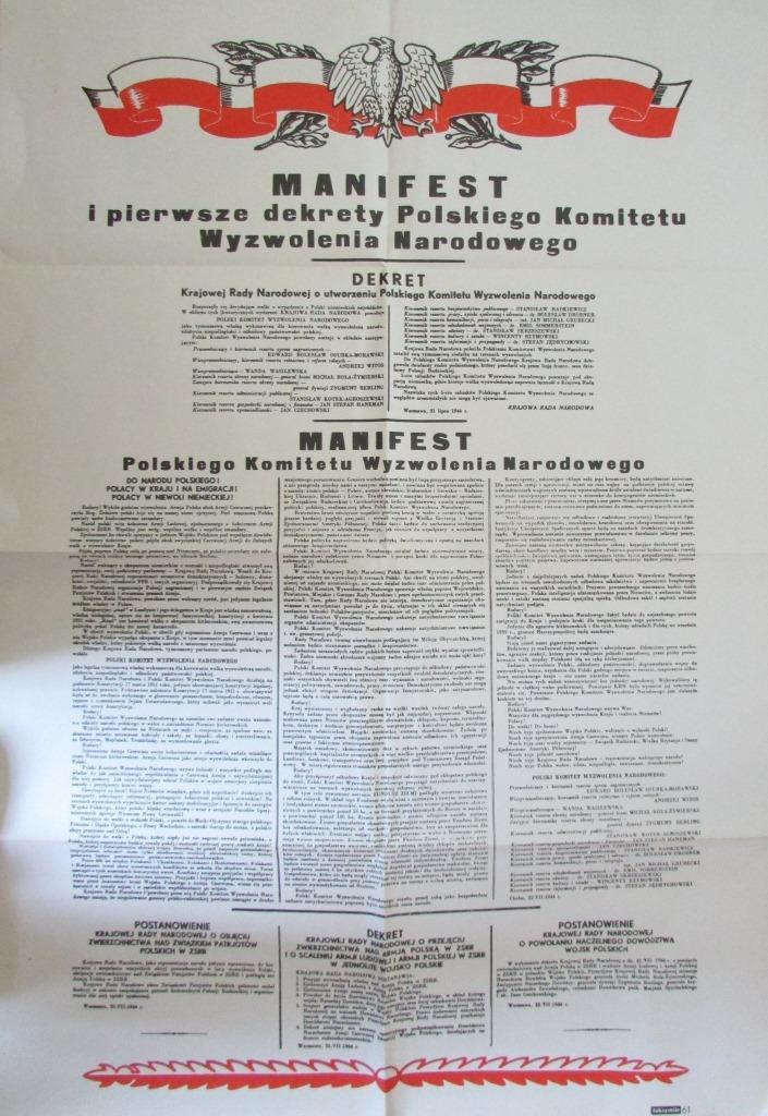 Документ. Факсиміле. Маніфест та перші декрети Польського комітету Національного визволення 22.07.1944 р.