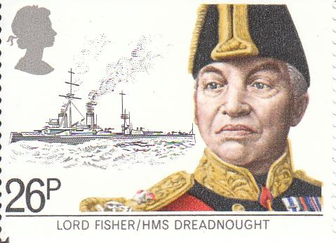 "Марка поштова негашена. ""Lord Fisher/HMS Dreadnought"""